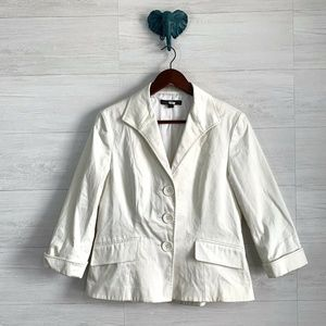 Lafayette 148 Button Down Cream White Blazer
